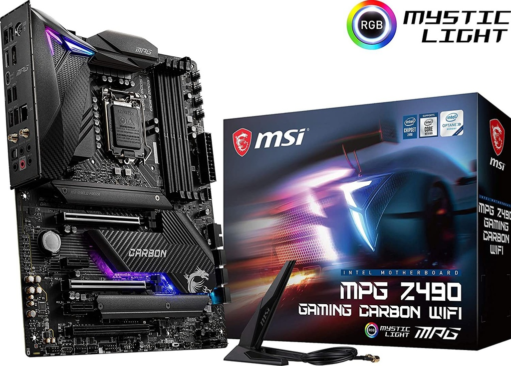 Mainboard MSI MPG Z490 Carbon Wifi LGA 1200 4Ddr4 3Pci Lan,Hdmi,Dp,Wifi,Bt (911-7C73-001)